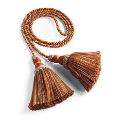 "Frontgate - Small Outdoor Tassel - Includes 2 handmade tassels connected by a 46"" long rope. All-weather acrylic/cotton threads over a wooden knob. Versatile accent you can also use indoors. Dry clean. Dress up your outdoor rooms and open areas with our gorgeous Outdoor Tassels. The handmade, multicolored tassels bring a decorator's touch to dining chairs, lounge chairs, drapery, and lamps.  .  .  .  . Made in Spain."