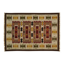 1800-Get-A-Rug - Hand Woven Reversible Durie Kilim 100 Percent Wool Oriental Rug Sh20163 - The Flat Weave hand woven rug is a type of area rug created by weaving wool onto a foundation of cotton warps on a loom. The Flat Weave rug offers the same beauty and durability as the classical thick-pile Oriental rugs, but without the telltale thick pile often spotted in other handmade rugs. This gives the Flat weave a thin and flat appearance which resembles the Needlepoint, making them wonderfully ideal choices as accent rugs, wall hangings, or to drape over furniture and staircases.