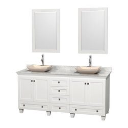 "Wyndham Collection - 72"" Acclaim White Double Vanity w/ White Carrera Top & Avalon Ivory Marble Sink - Sublimely linking traditional and modern design aesthetics, and part of the exclusive Wyndham Collection Designer Series by Christopher Grubb, the Acclaim Vanity is at home in almost every bathroom decor. This solid oak vanity blends the simple lines of traditional design with modern elements like beautiful overmount sinks and brushed chrome hardware, resulting in a timeless piece of bathroom furniture. The Acclaim comes with a White Carrera or Ivory marble counter, a choice of sinks, and matching mirrors. Featuring soft close door hinges and drawer glides, you'll never hear a noisy door again! Meticulously finished with brushed chrome hardware, the attention to detail on this beautiful vanity is second to none and is sure to be envy of your friends and neighbors"