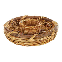 Eco Displayware - Medium Chip & Dip Rattan Holder Tray in Natur - Great for closet, bath, pantry, office or toy and game storage. Earth friendly. 16 in. Dia. x 4 in. H (3.72 lbs.)These natural colored baskets add warmth and charm and keep you organized.