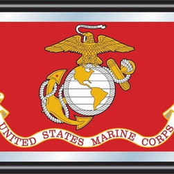 Trademark Global - United States Marine Corps Framed Logo Mirror - Includes mounted saw tooth hanger. Officially licensed full color artwork. Mirrored glass accents logo. 0.75 in. mirror thickness. 1.25 in. black wrapped wood frame. 27 in. W x 15 in. H (7 lbs.)Reflect on the favorite memories of your military service with this officially licensed framed logo mirror. Display your passion for the game while assisting your room's appearance with this professional grade logo mirror.