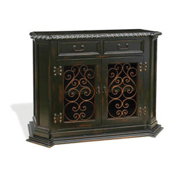 Koenig Collection - Old World Tuscan Small Buffet Virrey, Natural Stain Distressed - Virrey Small Buffet, Natural Stain Distressed with Scrolls