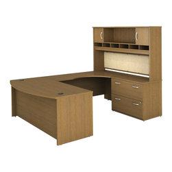 """Bush - Bush Series C 4-Piece U-Shape Right-Hand Computer Desk in Warm Oak - Bush - Office Sets - WC67546PKG2 - Bush Series C 72""""W RH Corner Module Desk in Warm Oak (included quantity: 1)"""