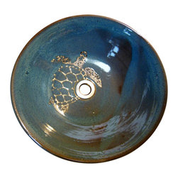 "rika blue - Sea Turtle Vessel Sink - This is a wonderful sink. Approx. 14"" wide by 4 1/4"" high"