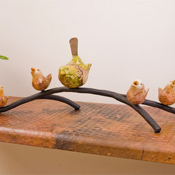 Mathews & Company - Birds and Branch Large - The creativity and fine craftsmanship of our skilled iron artisans is fully on display in this delightful piece, as a mother bird watches dutifully over her four little singing chicks. Whether on a tabletop, mantle, or shelf, you will enjoy bringing a bit of the outdoors into your home. The delicate, almost fragile appearance of the hand-work makes you forget that this is a sturdy piece of iron that will stand the test of time. Bring a touch of whimsy and imagination to any room with this fun and charming item.