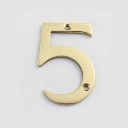Cool House Numbers Solid Brass 3 Inch (75mm) Door Number 5 #2275 - SOLID BRASS 3 INCH (75MM) DOOR NUMBER 5 #2275