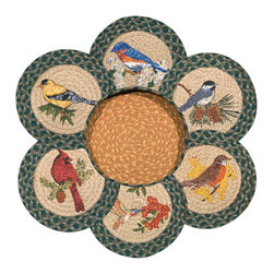 Earth Rugs - Song Birds Round Trivets in a Basket (Set of 7) - Our Jute products are crafted with sustainably harvested jute, a fast-growing, renewable natural fiber. The jute is then hand braided into unique patterns.