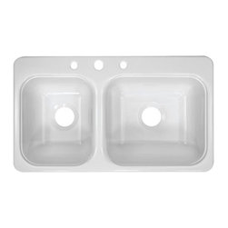 """Lyons Industries - Deluxe 33"""" x 19"""" Kitchen Sink - Features: -Kitchen sink. -Deluxe Sinks collection. -High gloss finish. -Durable high strength acrylic construction. -Installation type: Drop-in. -8"""" Deep equally sized larger bowl. -Three faucet holes for standard kitchen or pull-out faucet. -Fiber glass insulation for increased temperature stability. -Self-rimming sink. -Reinforced drain areas for garbage disposal installation. -Four simple tab and mounting clip system. -Easy to clean. -Easy to install. -Made in USA. -Manufacturer provides 3 years warranty for residential and 1 year for commercial. Specifications: -Drain opening size: 3.5"""". -Overall dimensions: 8"""" H x 33"""" W x 19"""" D."""