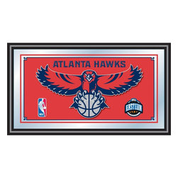 Trademark Global - Atlanta Hawks NBA Framed Logo Mirror - Officially Licensed Full Color Artwork. Mirrored Glass Accents Team Logo. 1.25 Inch Black Wrapped Wood Frame. Includes Mounted Saw Tooth Hanger. Measures .75 (D) x 27 (W) x 15 (H) InchesReflect on the favorite memories of your team with this officially licensed framed logo mirror. Authentic artwork is preserved under mirrored glass then bound by a black wrapped wood frame.  Post up your passion for the game while assisting your room's appearance with this professional grade logo mirror.