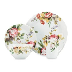 Kathy Ireland By Lenox - Kathy Ireland Home by Gorham Georgian Estate 4-Piece Dinnerware Place Setting - This elegantly floral dinner place setting is wonderfully reminiscent of an English rose garden. Designed by Kathy Ireland Home by Gorham, this Georgian Estate dinnerware is a charming addition to any casual or formal dining event.