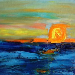 Sunset 1 (Original) by Marino Chanlatte - This work was inspired on a sunset at a beach in the Pacific ocean.