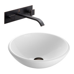VIGO Industries - VIGO White Phoenix Stone Glass Vessel Sink, Antique Rubbed Bronze - The VIGO White Phoenix Stone Glass Vessel Sink with Antique Rubbed Bronze Wall Mount Faucet is the definition of elegance for any bathroom.