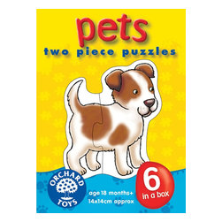 """The Original Toy Company - The Original Toy Company Kids Children Play Pets - 6 puzzles of friendly family pets. Ages 18 months plus. Puzzle Size - 5.5""""x 5.5"""" 2 piece puzzles. Made in England."""