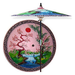 Oriental-Decor - Asian Spring (Pristine Pink) Outdoor Patio Umbrella - This extraordinary and artistic patio umbrella depicts the migration of Oriental cranes during the spring season. Each season represents a different part of life with spring being synonymous with rebirth. Through rain and shine this umbrella will provide you with years of shelter for you and your family.