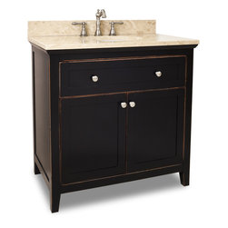 "Hardware Resources - Lyn Design VAN093-36-T - This 35-11/16"" wide solid wood vanity features a clean shaker design in a warm Aged Black finish. With a top drawer fitted around plumbing and spacious cabinet with adjustable shelf, there is plenty of storage space. Drawers are solid wood dovetailed drawer boxes fitted with full extension soft close slides, and cabinet features integrated soft close hinges. This vanity has a 2.5CM engineered Emperador Light marble top preassembled with an H8810WH (17"" x 14"") bowl, cut for 8"" faucet spread, and corresponding 2CM x 4"" tall backsplash."