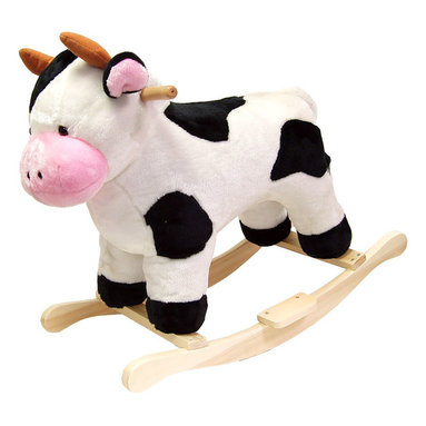 Happy Trails - Cow Plush Rocking Animal - Recommended Weight Limit: 80  lbs.. Seat Height: 19 in.. Ages: 2 years and up. Color: Black/White. 28 in. L x 14.5 in. W x 23 in. H (9 lbs.)
