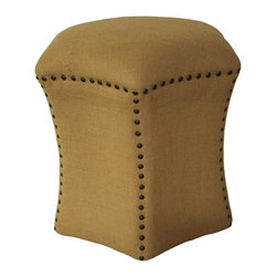 Noir - Noir - Loris Ottoman, Small - Small star shaped burlap covered ottoman with antiqued nail head trim.