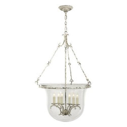 "Visual Comfort - Visual Comfort CHC2212OW New Country 6 Light Large Bell Jar Lantern in Old White - Visual comfort's premium brand, under the design direction of Earle F.(Sandy) Chapman.Traditional Silhouettes adapt to today's proportions and performance for gracious versatile. The most comprehensive line, including outdoor lighting and accessories.Hard-WiredBulb Type: Incandescent Canopy: 6"" Round Collection: E.F. Chapman Finish: Belgian White Height: 32-3 4 Number of Lights: 6 Socket: 6 Socket Type: Candelabra Style: Traditional Wattage: 60 Width: 23"