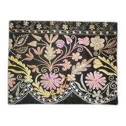 "Metrohouse Designs - ""Consigned"" Hand Embroidered Vintage black velvet suzani pillow - Vintage black velvet suzani pillow"