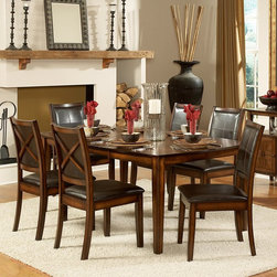 Homelegance - Homelegance Verona 7-Piece Expandable Dining Table Set - Deep Chocolate Multicol - Shop for Dining Tables from Hayneedle.com! Update your dining space with the upscale casual Homelegance Verona 7-Piece Expandable Dining Table Set - Deep Chocolate. This set includes six side chairs with faux leather upholstery and a spacious table with extension leaf. All pieces are made of rubberwood and finished in distressed rustic oak. The chairs feature an X back tapered legs and deep chocolate faux leather upholstered seats and backrests. The contemporary table features oak veneer with walnut inlay and includes an extension leaf.Dimensions:Table: 72L x 42W x 30H in.Side chairs: 19W x 23D x 38H in.About Homelegance Inc.Homelegance takes pride in offering only the highest quality home furnishings that incorporate innovative design at the best value. From dining sets to mirrors sofas and accessories Homelegance strives to provide customers with a wide breadth and depth of selection as well as the most complete and satisfying service available for their category. Homelegance distribution centers are conveniently located throughout the United States and Canada.