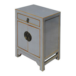 Golden Lotus - Nightstand End Table Chinese Gray Lacquer Moon Face Cabinet - This is a Chinese gray lacquer nightstand end table which is made of solid elm wood.  The front of cabinet has Chinese moon face design on it.