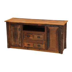"""Barnwood Widescreen Television Stand - Combining modern convenience with rustic appeal the Barnwood Widescreen TV Stand handcrafted from reclaimed 19th century tobacco barn Red Oak planks provides beautifully concealed storage. Two cabinets (12""""W x 16""""D x 11""""H each) open to reveal adjustable shelves two drawers (22""""W x 15""""D x 5 1/2""""H) accented with antique rusted iron hardware and a DVD/receiver opening (24""""W x 16""""D x 29""""H) to create ample space for electronics games movies and music. Kiln-dried hickory log legs and a matte lacquer finish add natural character. Measures 59""""W x 20""""D x 29""""H."""