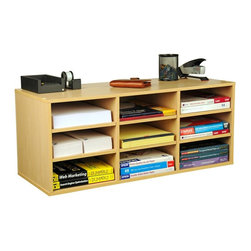 Venture Horizon - Desktop Supply Organizer w Adjustable Shelves - Versatile storage system. Features 9 adjustable shelves for storage and sorting. Reposition shelves to accommodate large books and binders. Stack units on floor or desk to create a wall of storage. Can also stand the units on end and use as a bookcase. Organizes all papers, binders and more. Rugged construction. Mount on any wall. Constructed from durable, stain resistant and laminated wood composites that includes MDF. Made in the USA. Minimal assembly required. Weight: 28 lbs.. 31 in. W x 12 in. D x 13 in. H9 Compartment unit neatly organizes desk clutter. This versatile storage system features 6 adjustable shelves for storage and sorting. Reposition shelves  to accommodate large books and binders. Stack units on floor or desk to create a wall of storage. You can also stand the units on end and use as a bookcase. Each unit is 13 in. high x 31 in. wide x 12 in. deep and weighs 28 lbs. Constructed from durable, stain resistant melamine laminated particleboard that is stain resistant and easy to clean.