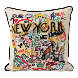 Hand-Embroidered City Pillow, New York City - I love when things in your home are not just things but rather, mean something. This pillow is not only pretty but a great way to remember a special time or trip.