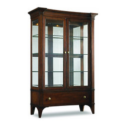 """Hooker Furniture - Abbott Place China Cabinet - White glove, in-home delivery included!  Abbott Place takes a fresh spin on traditional styling for a look that blends the best of classic American influences with fresh, updated design.  Concave shaping on the China Cabinet creates energy and movement in a rich, warm cherry finish.  Tapered legs offer a crisp, smart design of good taste for style flavors ranging from new American mix to casual transitional.  Three stationary glass shelves with plate groove, 3/8"""" thick glass shelves, one drawer, two doors.   Glass shelves: 46 1/2"""" w x 14"""" d  Bottom shelf: 13 3/8"""" h  Middle shelf: 13"""" h  Top shelf: 14 1/8"""" h"""