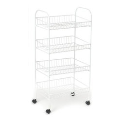 CLOSETMAID - 4 Tier Cart - 4 tier basket cart with casters. Easy to assemble. Sturdy steel wire construction.
