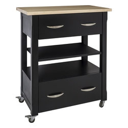 "Hardware Resources - Elements Kitchen Island in Painted Black (ISL501-BLK-WT) - This 30"" x 18"" x 36"" island is manufactured out of MDF. This small island cart features two working drawers and an adjustable center shelf. The drawers are equipped with full extension slides. Wood top preassembled. Soft rubber casters included. The included decorative hardware can be found in the Elements Belfast Collection (308 128)."