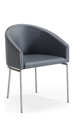 Skovby - Anthracite Leather Dining Chair SM 69 - Lounging around your table just got a lot more stylish. With a beautifully curved back and strong modern mix of metal and leather, this dining chair feels as luxurious as it looks.