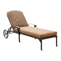 Home Styles - Home Styles Floral Blossom Chaise Lounge Chair with Cushion in a Charcoal Finish - Home Styles - Patio Lounges - 555883 - By combining outdoor elements such as ceremonial and abstract floral designs the Floral Blossom Chaise Lounge Chair with Cushion by Home Style is brought to life.