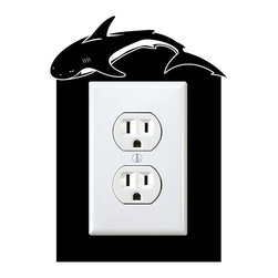 StickONmania - Outlet Shark Sticker - a vinyl decal sticker to decorate a wall outlet.  Decorate your home with original vinyl decals made to order in our shop located in the USA. We only use the best equipment and materials to guarantee the everlasting quality of each vinyl sticker. Our original wall art design stickers are easy to apply on most flat surfaces, including slightly textured walls, windows, mirrors, or any smooth surface. Some wall decals may come in multiple pieces due to the size of the design, different sizes of most of our vinyl stickers are available, please message us for a quote. Interior wall decor stickers come with a MATTE finish that is easier to remove from painted surfaces but Exterior stickers for cars,  bathrooms and refrigerators come with a stickier GLOSSY finish that can also be used for exterior purposes. We DO NOT recommend using glossy finish stickers on walls. All of our Vinyl wall decals are removable but not re-positionable, simply peel and stick, no glue or chemicals needed. Our decals always come with instructions and if you order from Houzz we will always add a small thank you gift.