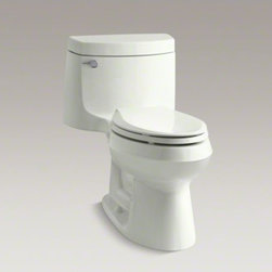 KOHLER - KOHLER Cimarron(R) Comfort Height(R) one-piece elongated 1.28 gpf  toilet with A - With its versatile, fresh design, this one-piece Cimarron toilet matches a range of contemporary and classic decors. The elongated bowl offers extra room, with seating at the height of a standard chair for ease of use. A 1.28-gallon flush provides signifi