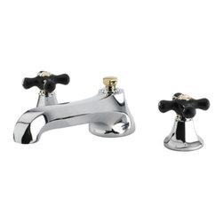 """Kingston Brass - Roman Tub Filler Black Porcelain Cross Handle KS4304PKX - With the Metropolitan Onyx Roman Tub Filler,  getting the bathtub ready for a nice lounging soak couldn't be done in an easier and more stylish manner. The handle bases curve up to feature a pair of black porcelain handles.  This spout reaches out a long 8.5"""" and can fill up to 8.06 GPM. You will be able to enjoy your tub and tub filler for years to come thanks to its solid brass construction and ceramic disc cartridges for leak-free performance.. Manufacturer: Kingston Brass. Model: KS4304PKX. UPC: 663370304224. Product Name: Kingston Brass Metropolitan Onyx Roman Tub Filler With Black Porcelain Cross Handle, Chrome With Polished Brass Trim. Collection / Series: Metropolitan Onyx. Finish: Polished Chrome/Polished Brass. Theme: Traditional. Material: Brass. Type: Bathroom Faucet. Features: Solid Brass Construction"""