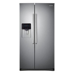 "Samsung - RS25H5000SR 36"" Side-by-Side Refrigerator with 25 cu. ft.  4 Tempered Glass Shel - This Samsung side-by-side refrigerator has a large 25 cu ft capacity and offers a nice sleek design There is a compact icemaker located on the door which takes up little space in the freezer Enjoy the convenience of having filtered water come straigh..."