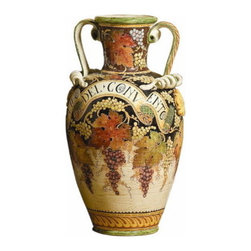 Artistica - Hand Made in Italy - MAJOLICA MASTERPIECES: Large Orcio/Urn Viti F/Nero - MAJOLICA Collection: This item is part of our renown and top-of-the-line Antica Majolica Collection.