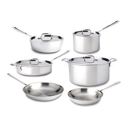 All-Clad - All-Clad Tri-Ply Stainless Steel 10 pc Cookware Set - MetroKitchen Exclusive (40 - Updated in 2011, this All-Clad Tri-Ply Stainless 10 piece cookware set includes: 10 inch fry pan, 12 inch fry pan, 2 quart saucier pan with lid, 4 quart sauce pan with lid, 4 quart saute pan with lid, 8 quart stock pot with lid. The most practical option when looking for basic cookware shapes. Most fundamental day-to-day cooking can be accomplished with these All-Clad set pieces. Lifetime warranty from All-Clad with normal use and proper care. Made in the USA! Available only from MetroKitchen.