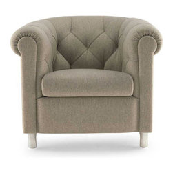 Poltrona Frau - Poltrona Frau Arcadia Armchair - Softness and comfort are the main characteristics of this series of sofas and chairs. The frame is made of beech wood, the padding is made from polyurethane foam and resinate, and the cushions are polyurethane foam and feather. Upholstered in either Pelle Frau leather or exclusive fabrics. The feet are available in two versions: beech wood upholstered in Pelle Frau leather, or polished gunmetal grey finished aluminum. Price includes delivery to the USA. Manufactured by Poltrona Frau.Designed in 2005.