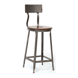 Wave Stool - From our vintage farmhouse furniture collection, this wave iron stool offers a clean look with the traditional French curves. It is finished with a vintage rubbed stool to give it that look of being in the kitchen for years.