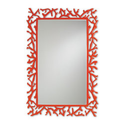 Currey and Company - Corail Mirror, Red - Part of Marjorie Skouras' distinctive design series, the Corail Mirror features powder coated cast aluminum in a vibrant red finish.This faux coral construction reflects a coastal vibe. Bright and dazzling, this red coral mirror showcases seaworthy glamour.