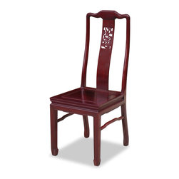 China Furniture and Arts - Rosewood Dragon Motif Chair - To use as dinning chair in a set or to place a pair in a special spot in your living room, this chair is exquisitely hand carved with dragon motif which symbolizes prosperity and good luck in Chinese culture. Made of rosewood and constructed with joinery technique. Hand applied beautiful cherry finish.