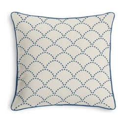 Blue Embroidered Scallop Motif Custom Throw Pillow - Black and white photos, Louis XIV chairs, crown molding: classic is always classy. So it is with this long-time decorator's favorite: the Corded Throw Pillow. We love it in this dusty blue embroidered pearls in art deco scallop motif on crisp, smooth light tan ground.