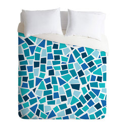 Santa Monica Mosaic Duvet Cover - Take a trip to the boardwalk from your own bedroom when you wake up with this cheerful duvet cover. Mosaic-style blocks of varied aqua, teal, and turquoise tones make for a delightful monochromatic pop of playful beachy style.
