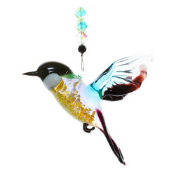 Spirit Pieces - Large Handcrafted Glass Flycatcher Bird Ornament with Crystal Beading - Awesome - This is a great addition to any home.  Hang off a bird cage or outdoor bird house.  Comes with a handcrafted Flycatcher figurine with crystal beading and a Crystal Butterfly top piece.  So many places to hang this, be it a window, off a mantle, an awning or outdoor tree.  Partially transparent so it will sparkle when the sun shines through it.  If you know someone who likes birds, or you like them yourself, this is a great gift!