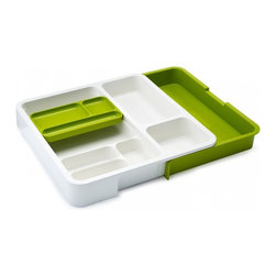 Joseph Joseph - Drawer Store Organizer, Green - The DrawerStore Organiser is perfect for keeping these items neatly organised as it has a variety of differently sized compartments and a handy, moveable storage tray for small, loose objects. Dishwasher Safe.