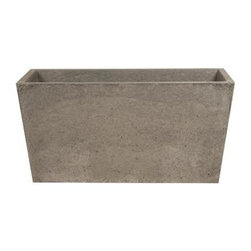 "Hart Concrete Design - Trough Pot in Iron, 24"" - The Trough Pot is Handmade to order in the Unites States by Hart Concrete Design. Featuring a bold design that rivals the typical planter, they make a great accent to any landscape and could also be used indoors."