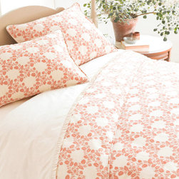 "Pine Cone Hill - Pine Cone Hill Trellis Damask Terracotta Duvet Cover - Final Sale - The subtly sensational La Dolce Villa collection by Pine Cone Hill offers lush layering options for a well-dressed bed. In a delicate floral damask the Trellis duvet cover graces the room with a lighthearted spirit. For an easy, coordinated look pair this terracotta and ivory cover with the matching or contrasting Trellis sham (available separately). Duvet cover is made from 100% cotton sateen. Machine wash, tumble dry low. Available in twin, full/queen and king sizes. Twin measures 68"" x 86"". Full/Queen measures 88"" x 88"". King measures 102"" x 92""."