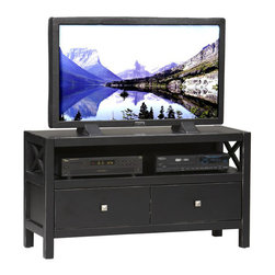 Linon - Linon Anna TV Stand in Distressed Antique Black - Linon - TV Stands - 86106C12401KDU - Whether your style is traditional or modern the stunning Antique Black Finish on the Anna Media Center Plasma Center will blend seamlessly into your decor. This TV Stand has two storage drawers which provide convenient storage for your magazines remotes movies or other items and the open shelf can be used to house your electronic components or to display your favorite keepsakes.